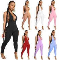 Women Halter Deep V Solid Color Backless Bodycon Long Jumpsuit