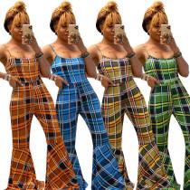 Women Spaghetti Strap Checks Print Casual Long Bell-bottom Jumpsuit