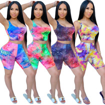Women Sexy Sleeveless Colorful Print Bodycon Cropped Jumpsuit 2pcs