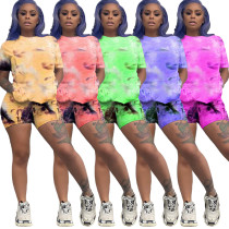 Women Sexy Short Sleeve Tie-dyed Print Casual Short Pants Set