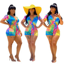 Women Short Sleeves V Neck Tie Dyed Print Casual Club Bodycon Short Jumpsuit