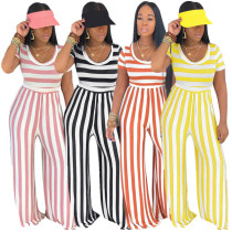 Women Short Sleeves Stripes Casual Club Party Wide Legs Long Jumpsuit