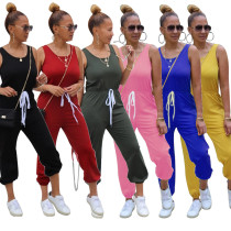 Women Sleeveless Solid Color Drawstring Casual Sporty Long Jumpsuit
