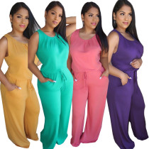 Women Sleeveless Solid Color Bandage Pockets Loose Long Jumpsuit