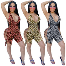 Women Sexy Halter Leopard Print Backless Bandage Cropped Jumpsuit