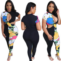 Women Short Sleeve Printed Hollow Out Casual Sexy Bodycon Jumpsuit