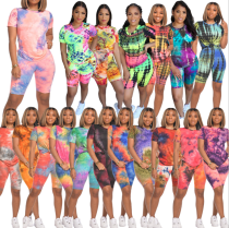 Women Round Neck Short Sleeve Tie-dyed Print Casual Short Pants Set