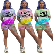 Women Short Sleeve Letter Tie-dyed Print Burn-out Bodycon Casual Outfits 2pcs