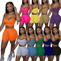 Women Sexy Spaghetti Strap Vest Solid Color Short Pants Set
