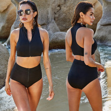 Women Summer Sleeveless Solid Color Zipper Padded Split Swimsuit S-5XL