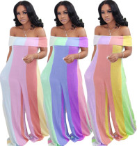 Women Boat Neck Folded Colorful Stripe Print Pockets Loose Jumpsuit Casual S-4XL