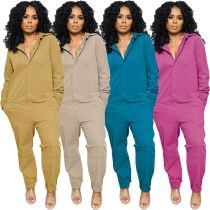 Women Turn-down Neck Long Sleeve Single-breasted Pockets Casual Long Jumpsuit