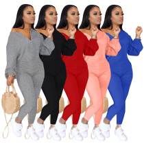 Women Fashion Solid Color Zipper Long Sleeves Bodycon Jumpsuit Casual Wear