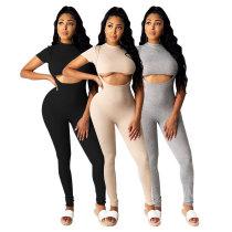 XS-5XL Womens Short Sleeve Crop Top Color Block Suspender Pants Outfits 2pcs