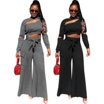 New Women Solid Color Long Sleeve Hollow Out Autumn Long Wide Leg Pants Set 2pcs