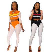 Women Fashion Long Sleeve Colors Patchwork Zipper Casual Bodycon Jumpsuit 2pcs