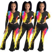 Women Casual Long Sleeves Colorful Print Fashion Long Boot-cut Pants Suit 2pcs
