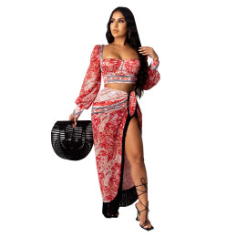 Sexy Women Long Sleeve Crop Top National Print Tassels Irregular Skirt Set 2pcs