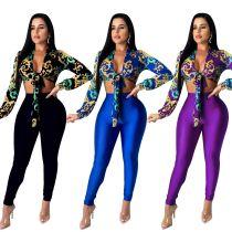 Women's Long Sleeve Printed Bandage Crop Top Long Skinny Solid Pants Set 2pcs