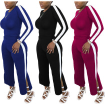 Fashion Women Long Sleeve Solid Color Stripe Patchwork Slit Casual Outfits 2pcs