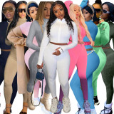 Fashion Women Long Sleeve Solid Color Zipper Embroidered Letter Bodycon Jumpsuit 2pcs