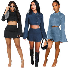 Women Sexy Long Flare Sleeve Crop Top Solid Color Denim Casual Mini Dress 2pcs