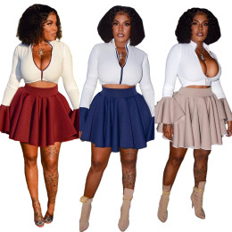 Women Long Sleeves Zipper Ruffled Patchwork Casual Club Party Dress Skirts Set