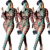 Women Sexy Long Flare Sleeve Circle Print Bodycon Club Sheer Mesh Jumpsuit