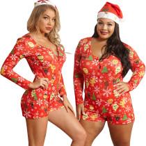 Women Sexy Buttons Long Sleeve Cute Christmas Print Bodycon Short Jumpsuit S-5XL