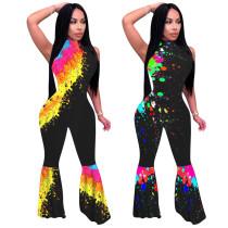Women Fashion Sleeveless Tie-dyed Print Zipper Bodycon Long Boot-cut Jumpsuit