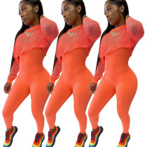 Women Sexy Sleeveless Rib Jumpsuit+Long Sleeve Mesh Smock Solid Color Suit 2pcs