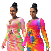 Women Tie-dyed Print Long Sleeve Zipper Casual Sexy Mini Pencil Dress 2pcs