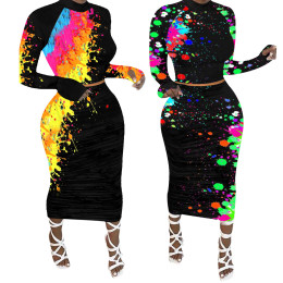 Women Fashion Long Sleeves Graffiti Printed Casual Bodycon Midi Skirt Set 2pcs