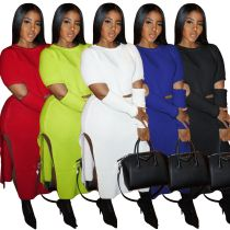 Women Long Sleeves Hollow Out Solid Color Sweater High Slit Dress Skirt Set 2pc
