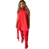 Sexy Women Heaps Collar Sleeveless Bandage Hollow Out Solid Color Draped Outfits