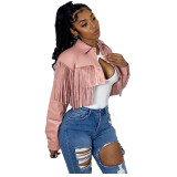 Fashion Women Turn-down Neck Long Sleeve Tassels Buttons Solid PU Short Jacket