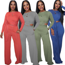 New Women Long Sleeves Bandage Pockets Solid Color Casual Wide Leg Jumpsuit 2pcs