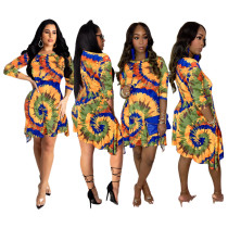 S-4XL Women Fashion Long Sleeve Tie-dyed Print Pockets Casual Irregular Dress