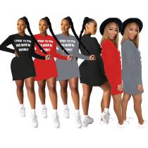 S-4XL Women Round Neck Long Sleeve Letter Print Casual Short T-shirt Dress