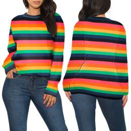Women Stylish Round Neck Long Sleeve Rainbow Stripes Print Loose Sweater Tops