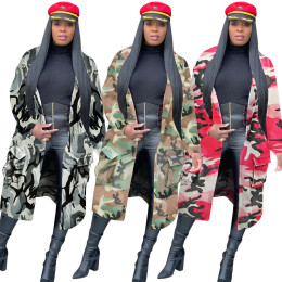 Women Tailored Neck Long Sleeve Camouflage Print Pockets Casual Cloak Outwear