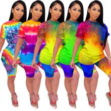 Fashion Women Short Sleeve Colorful Tie-dyed Print Casual Pants Suit 2pcs