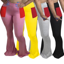 Women Fashion Casual Elastic Waist Pockets Solid Color Long Boot-cut Pants