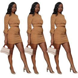 Women Solid Color Long Sleeve Drawstring Bocycon Stylish Two-piece Mini Dress