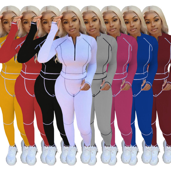 New Women Long Sleeve Solid Color Zipper Patchwork Bodycon Jumpsuit 2pcs