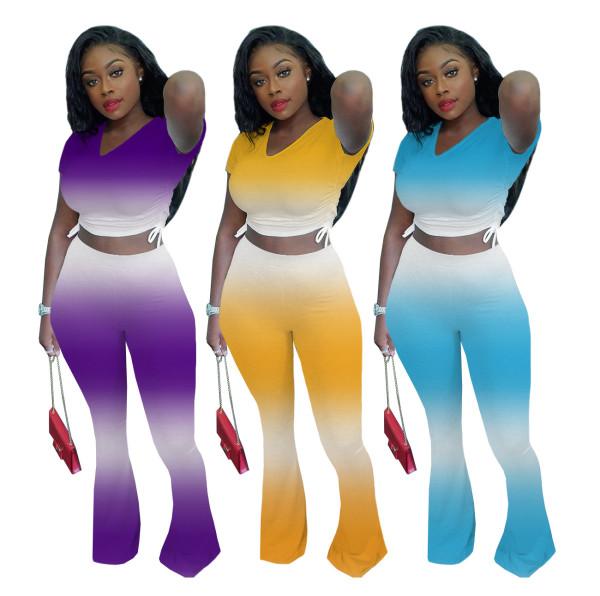 Women Sexy Short Sleeve Drawstring Top Gradient Print Long Boot-cut Pants Set