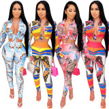 Women Sexy Turn-down Neck Long Sleeve Buttons Shirt Printed Long Pants Set 2pcs
