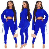 Women Fashion Bandage Long Sleeve Solid Color Casual Skinny Pants Set 2pcs