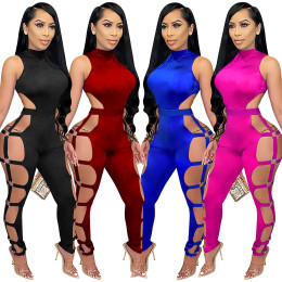 Women Sexy Solid Color Sleeveless Hollow Out Zipper Bodycon Clubwear Jumpsuit