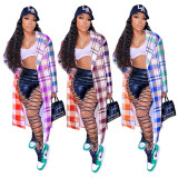Women Tailored Neck Long Sleeve Double-breasted Checks Print Coat Outwear
